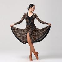 vestido latino de leopardo al por mayor-Adulto / Girls Latin Dance Dress Salsa Tango Chacha Ballroom práctica de la competencia Dance Dress Leopard Sexy V Collar manga larga Dress 2Color