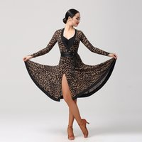 Wholesale Latin Ballroom Dance Dress Girls - Adult Girls Latin Dance Dress Salsa Tango Chacha Ballroom Competition practice Dance Dress Leopard Sexy V Collar Long Sleeve Dress 2Color