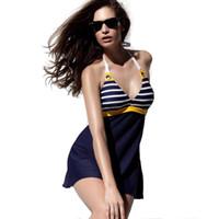 traje de baño de una pieza azul marino al por mayor-2015 Nueva Sexy traje de baño de la raya más el tamaño acolchado azul marino Halter Falda traje de baño de las mujeres de una sola pieza traje de baño ropa de playa traje de baño envío gratis