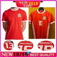 Wholesale New Silk Shirts - New 2018 Welsh Soccer Jersey 2018 19 Home Jersey BALE RAMSEY WARD Allen David Camisetas Muay Thai Top Thai Boxing Premium Soccer Shirt