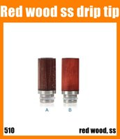 Wholesale Wood Ecigarette - Drip Tips ecig drip tips for 510 ECigarette 510 Thread red wood stainless steel material two colors 2015 top quality free shipping FJ219