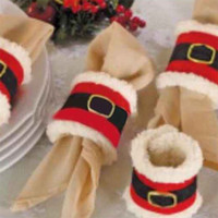Wholesale Napkin Polyester - 20pcs lot Christmas Napkin Rings Serviette Holder Party Banquet Dinner Table Decor Santa Claus Decorations Santa Napkin Ring