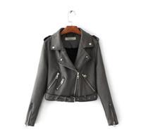 kahverengi kısa ceket toptan satış-Toptan-2017 Sonbahar kış Deri Ceket Kadın Süet Ceket Kahverengi Motosiklet Biker Kuşaklı Kısa Palto Mavi Kahverengi Süet Ceketler