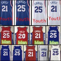 Wholesale Boys 18 - 2017 18 New Youth  Men's 21 joel embiid 25 Ben Simmons jersey stitched Men 20 Markelle Fultz jerseys Cheap sales Free Shipping