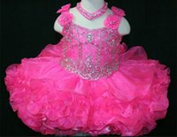 Wholesale Toddlers Hot Pink Party Dresses - Hot Pink Baby Pafeant Dress Little Rosie Spaghetti Straps Short Cute Flowers Toddler Party Dresses Beaded Ball Gown