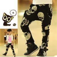 Wholesale Baby Boy Harem Skull Pants - Baby Harem Pants 2016 Fall Boys&Girls Skull Printed Harem Pants Kids Lesiure Cotton Overall Baby Casual Trouses