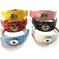 Wholesale Leather Wristbands Snaps - Wholesale 20PCS Lot New Style PU Leather Snaps Stone Vein Wristband Bracelets Double-Deck DIY Wristbands Bracelets Fit 2CM Snaps WB31
