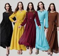 Wholesale Long Sleeved Chiffon Maxi Dress - The new Muslim robe dress women chiffon long-sleeved bow dress long Maxi Dresses party dresses plus size Thin belt bow waist dress