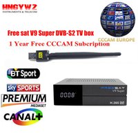 gratuito sat V9 super Satellite Receiver + 1 anno Europa cccam Cline DVB-S2 set top box Powervu Youtube gratuito sat + usb wifi