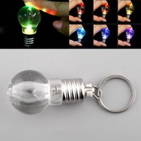 Wholesale Antique Torch - Silver Bright Creative LED Colorful Flash Lights Mini Bulb Torch Keyring Xmas Cute Keychain Keyring Clear Lamp free