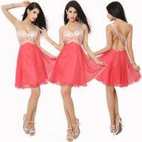 vestido lila cóctel corto al por mayor-En stock Un hombro Homecoming Vestido corto de baile Sandía Granos de cristal rojo Lila Sexy cóctel Fiesta de graduación Vestidos 2019 Barato