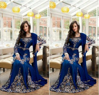 Wholesale Luxury Kaftan - 2016 Royal Blue Luxury Crystal Muslim Arabic Evening Dresses With Applique Lace Abaya Dubai Kaftan Long Plus Size Formal Evening Gowns