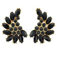 Wholesale Gemstone Stud Earrings For Women - Black White Imitation Gemstone Romantic Brincos Pequenos Gold Alloy Trendy Stud Earrings  Fashion Jewelry For Women