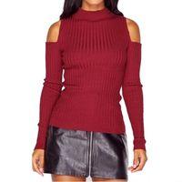 тянуть вверх оптовых-Wholesale- Sexy Turtleneck Off Shoulder Pullover Sweater Women Tricot Oversize Jumper Pull Autumn Knitted Top