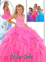 Wholesale Kid Prom Dresses White - Halter Beads Ball Gown Kids Party Princess Prom Dresses Ruffled Organza Long Ritzee Girls Pageant Dress Flower Girls Dress Birthday gowns