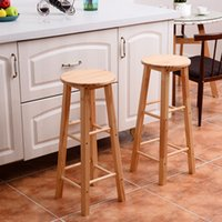 """Wholesale Furniture Dining Chair - Set of 2 Round 29"""" Bar Stools Wood Bistro Dining Kitchen Pub Chair Furniture New"""