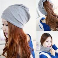 Wholesale Bonnets Women - 5 Colors Cotton Women Beanies Caps Spring Women Beanie Hat For Women Caps 3 Way To Wear Bonnet Fashion Grey Beanies