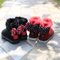 Wholesale Kids Flat Bow Shoes - winter girls cotton lace bow cotton boots children's safty quality snow boots baby shoes keep warm boots for kids