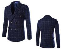 Wholesale Tartan Suit Men - 2016 new men's jacket coat High quality mens wool coats double breasted Tartan suits blazer for man