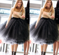 Wholesale Multi Color Tulle - 2015 New Fashion Black Tiered Knee-length Bouffant Tulle Skirt Stylish Ruched Women Skirts Multi Layers Adult Tutu Puffy Ball Gown Skirts