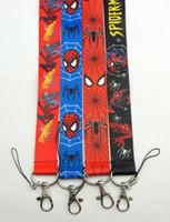 bretelles achat en gros de-Vente en gros-gros 20pcs Spider Man Lanyard Cartoon / sangles clés lanyard ID titulaires de la lanière Collection Lanière lanière Mobile Phone Straps
