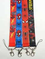 Wholesale Spider Mobile - Wholesale-Wholesale 20pcs Spider Man Lanyard Cartoon straps key lanyard ID Holders Neck Lanyard Collection Lanyard Mobile Phone Straps
