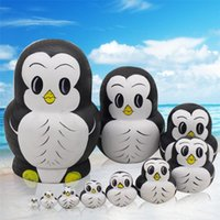 Wholesale Painted Penguin - 1xSet=10PCS BabyToy Nesting Dolls Wooden Matryoshka Set Russian Dolls Hand Painted Home Decoration Christmas Birthday Gifts