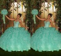 assoalho vestido do baile de finalistas hortelã venda por atacado-2016 Vintage Mint Verde Quinceanera Vestidos Querida Lace Up Cristais Frisado Até O Chão Tiers 2015 Tulle Formal Prom Dress