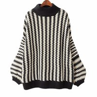 Wholesale Turtleneck Tops For Women - Winter Loose Striped Sweater For Women 2018 Autumn Casual Pullover Long Lantern Sleeve Half Turtleneck Top