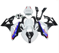 Wholesale Motorcycle Race Fairing Kits - Racing abs fairings for BMW S1000RR 11 12 13 14 1000RR 2011- 2014 injection motorcycle plastic fairing kit body white blue Quantity