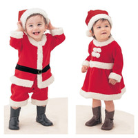 Wholesale Santa Claus Costume Boys - INS Christmas Set Boys Girls Winter Hat Long Sleeves Dress Baby Ropmer Party Cosplay Christmas Costume Santa Claus Suit Free Shipping 913