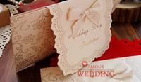 yeni varış düğün davetiyeleri toptan satış-2015 Yay ile El Yapımı Düğün Resmi Davetiye Yay Ücretsiz Kargo Yaratıcı Bauquet Yemeği Davetiye Kartları Yeni Varış