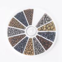 ingrosso perline misti 4mm vetro-hot - 234mm colori misti metallo perline di vetro kit perline distanziate allentate per gioielli fai da te fare circa 600 pezzi / set, BDH063-01MX