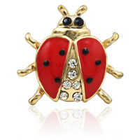 Brand New Animal Broches Broches Or Plaqué Émail Strass Coccinelle Broches Pour Hommes Costumes Décoration Bijoux