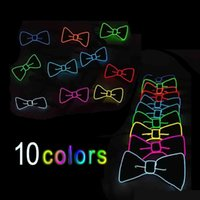 Wholesale Light Up Bow Tie - Multi Color Luminous Light Up LED Bow Tie Glowing EL Wire Bow Tie For DJ Bar Club and Evening Party Decoration