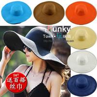 Wholesale Straw Hat Womens Fashion - Wholesale-Fashion Womens Cap Summer Boho Beach Sun Straw Panama Wide Brim Hat with Free Silk Band Feminino Sunhat