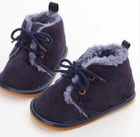 sapatos de cruzamento de animais venda por atacado-Nova Moda Sólida Lace-Up Do Bebê Botas Cross-amarrado Para O Outono / Inverno Sapatos de Bebê Para Bebês Quentes Botas de Pelúcia Sapatos Atacado