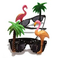 Sonnenbrille Hawaiian Flamingo Papagei Gläser Tropical Beach BBQ Fancy Brillen Party Masken