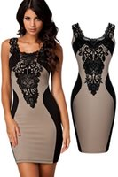 Wholesale Vestidos Peplum Renda - Khaki Sexy Lace Contrast Party Evening Bodycon Office Dress LC21548 vestidos de renda saias curtas femininas 5 Colors