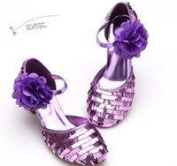 Wholesale High Heels For Children - 2015 Hot Girls Princess Sandal Purple Paillette High-heeled Shoes For Young Kids Big Flower Character Christmas Shoes For Children CR453