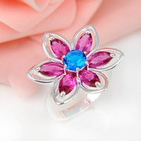 Wholesale Sterling Silver Mexico Rings - Top Quality 5pcs lot Flower Ruby Kunzite Blue Topaz Gems 925 Sterling Silver Flower Ring Mexico American Australia Weddings Jewelry Gift