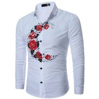 Wholesale long sleeve casual blouse patterns - Men shirt Casual Slim Fit Men's Casual Shirt Long Sleeve Rose moon Pattern Blouse Shirt Tops camisa masculina chemise homme Free shipping