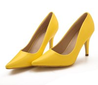Wholesale Yellow Bridesmaid Shoes Wedding - Yellow Catching Brand New 10cm High Heels Bride Bridesmaid Wedding Shoes Party Dinner Prom Shoes Size : (34 35 36 37 38 39) 33049