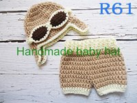 Wholesale Crochet Baby Diaper Cover - Wholesale-Free shipping Crochet Baby khaki aviator caps with Diaper cover,handmade pilot hat,shorts baby Set Newborn Photo Prop NB-3M