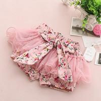 Wholesale Cotton Dress Elastic Waist - NEW Girls lace Bow floral dress shorts 2015 Summer Shorts Child Clothing Kids Pants 2 colors C001