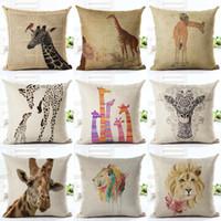 Wholesale Giraffe Throw - 45cm Fanshion Cotton Linen Fabric Throw Pillowcase Giraffe Lion Hot Sale 18 Inch New Home Coffee House Sofa Back Decor Cushion Cover