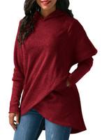 Wholesale High Quality Woman Blouse - Women Long Sleeve Hooded Asymmetric Hem Wrap Hoodie Sweatshirt Outwear Tops Blouse High Quality Hoodies for Women