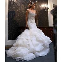 Wholesale Ornate Beads - Lyxury Crystal Beaded Sexy Mermaid Wedding Dresses 2016 organza Sweetheart Cascadign Ruffles Beading Ornate Bridal Gowns Vestidos de Novia
