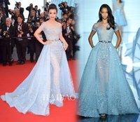 ingrosso zuhair murad abito blu cielo-Abiti da sera overshirt Zuhair Murad Light Blue cielo illusione pizzo oro cintura a-line Corte abiti da ballo