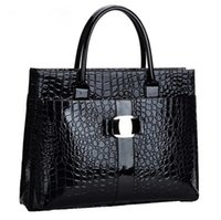 Wholesale Online Metals Store - Crocodile design black and red leather handbag and metal trademark bolsa women dollar store online handbag simple fashion elegant briefcases